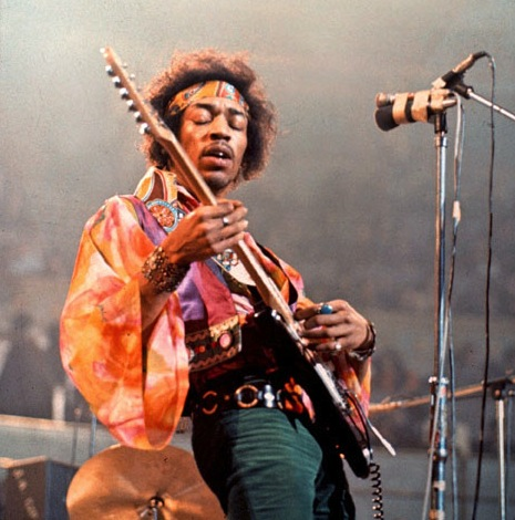 Jimi Hendrix performing at the Royal Albert Hall in London. © David Redfern / Redferns / Retna Ltd.
